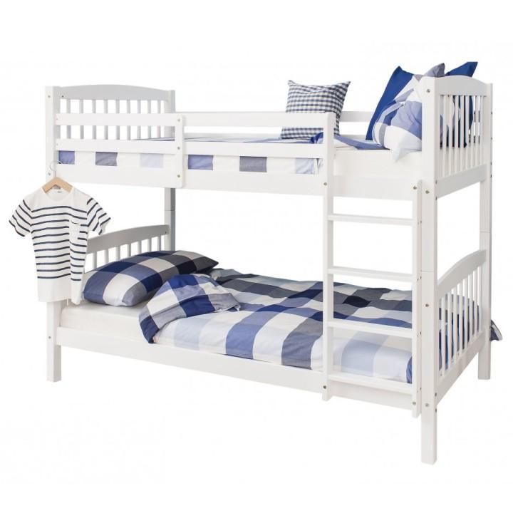 Poschodová rozložiteľná posteľ z borovicového dreva, biela,  RAVELO, 90x200