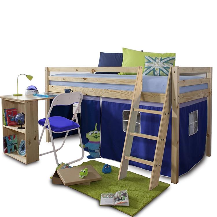 ALZENA posteľ s PC stolom z borovicového dreva a modrým bavlneným závesom