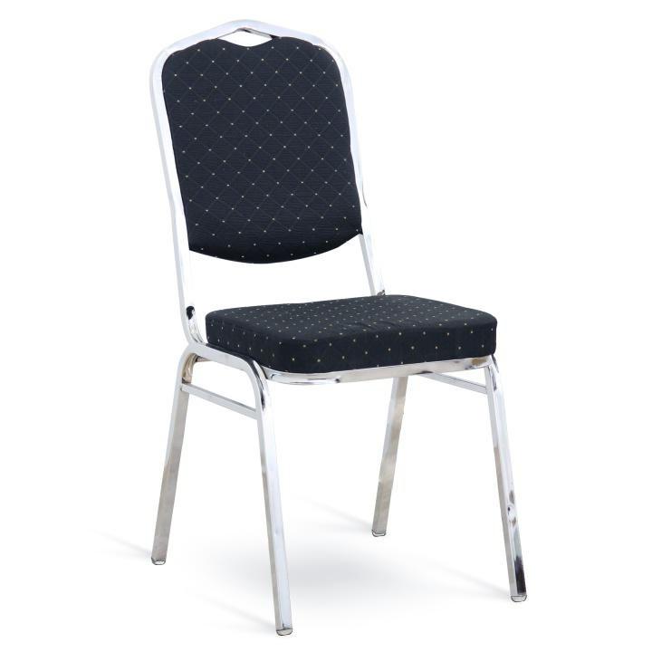 Stolička, stohovateľná, látka čierna vzor/chróm, LEJLA NEW - na bielom pozadí, Tovar II. triedy