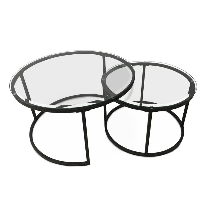 Set dvoch konferenčných stolíkov, tvrdené sklo s kovom, KALERO