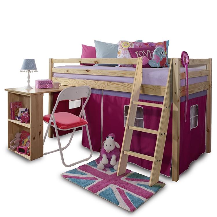 ALZENA posteľ s PC stolom z borovicového dreva a ružovým bavlneným závesom