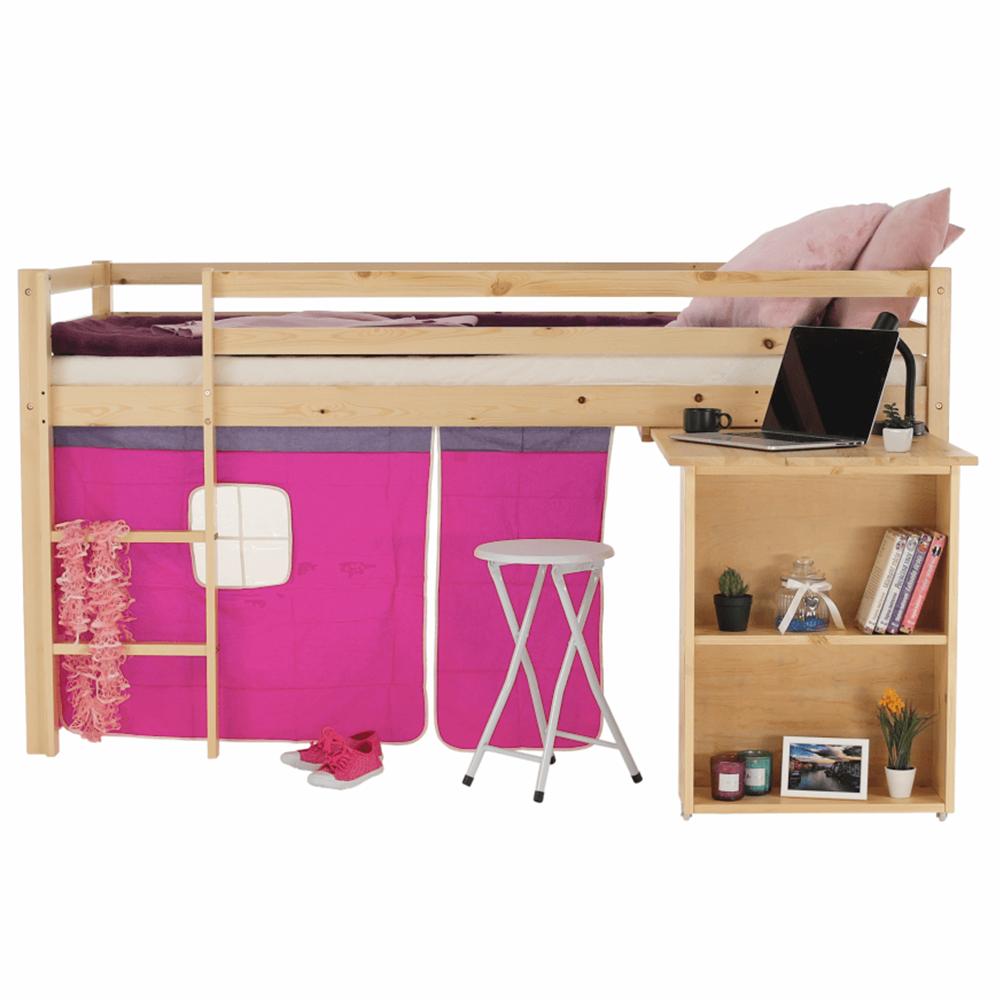 Pat înălţat cu masă PC, lemn de pin/roz, ALZENA