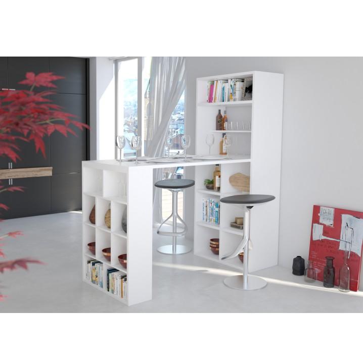 GEMA regál s barovým pultom, biela, DTD laminovaná/ABS hrany, interiérová fotka