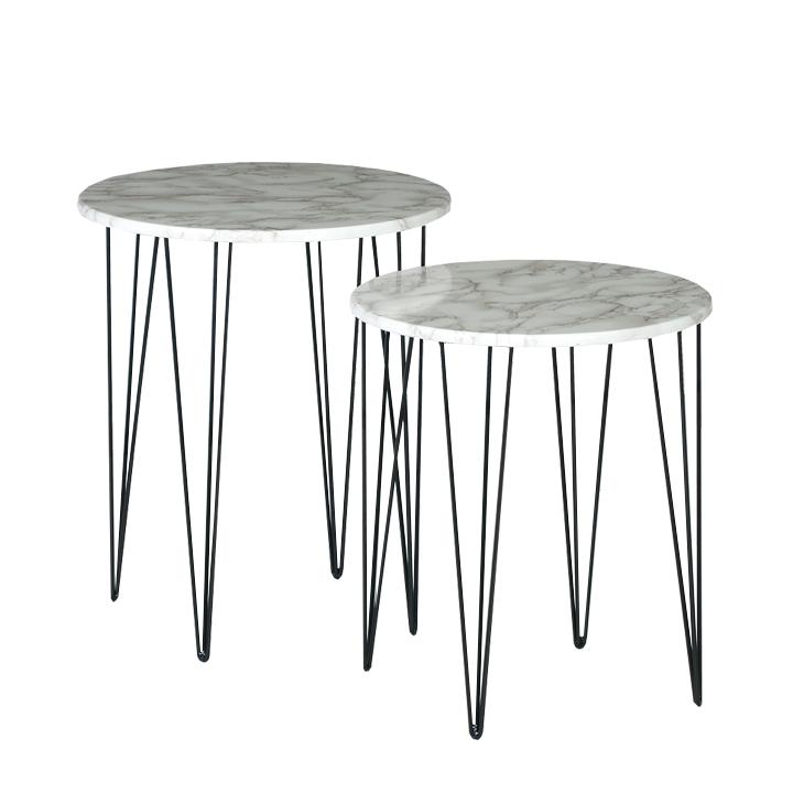 Set 2 konferenčných stolíkov, vzor biely mramor/čierny kov, PAROS