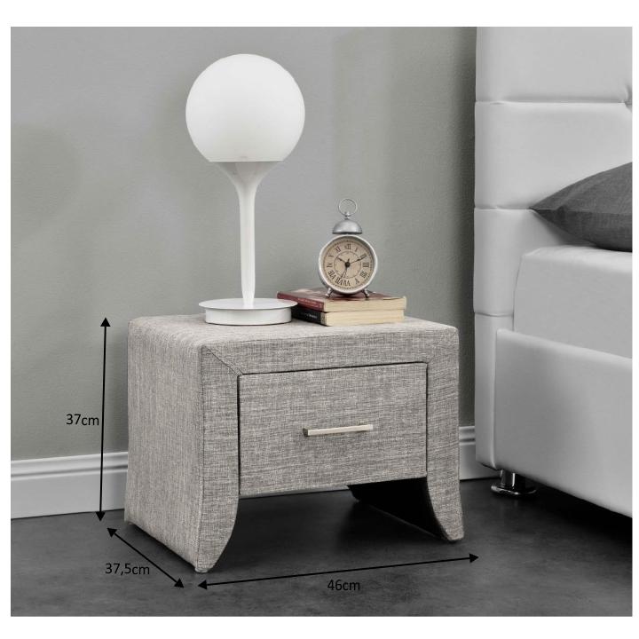 Nočný stolík, sivá látka, s rozmermi, GILES