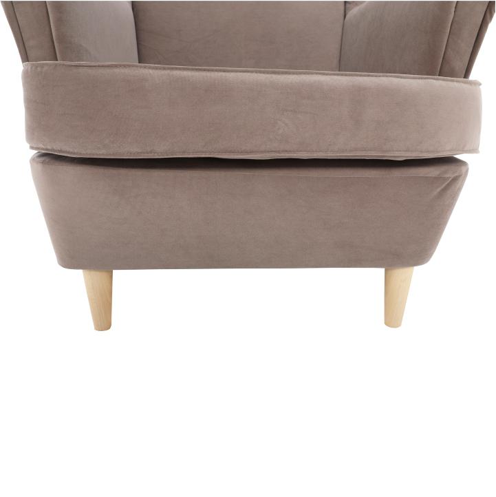 Kreslo ušiak, látka/drevo, béžovosivá/buk, RUFINO, detail sedadla