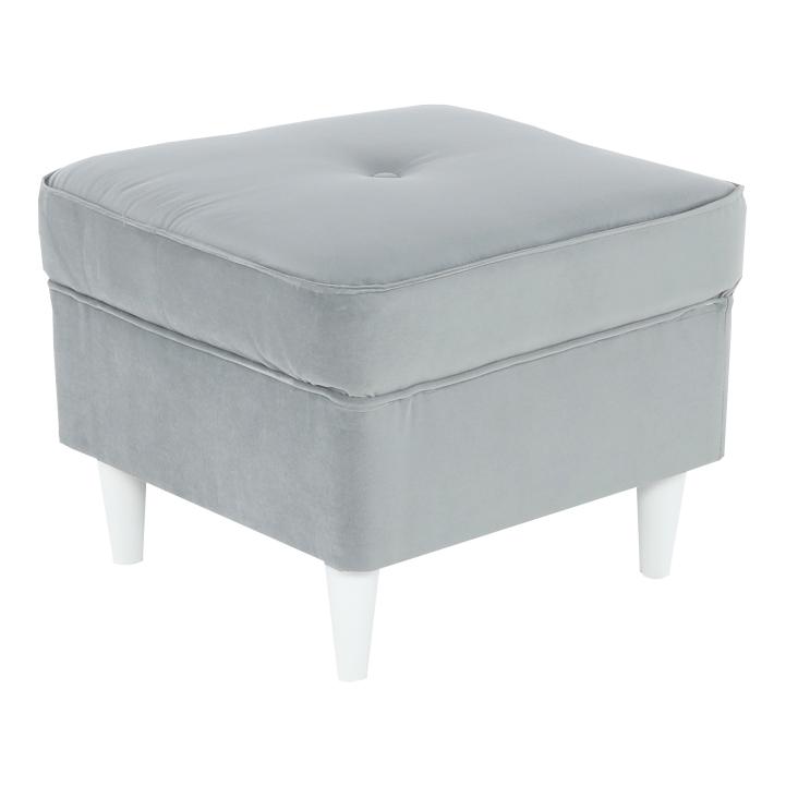 RUFINO moderný taburet z látky Trinity 14 vo farbe svetlosivá/biela, na bielom pozadí