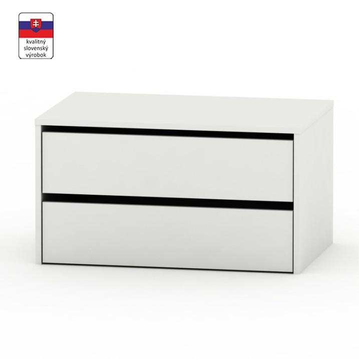 2 šuplíkový kontajner, biela, DTD laminovaná, RIA, na bielom pozadí