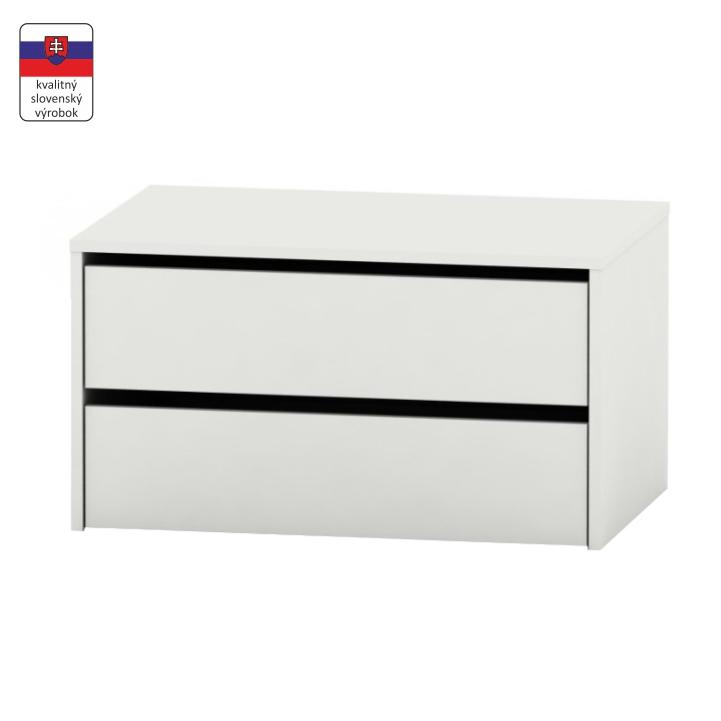 2 šuplíkový kontajner, biela, DTD laminovaná, RIA
