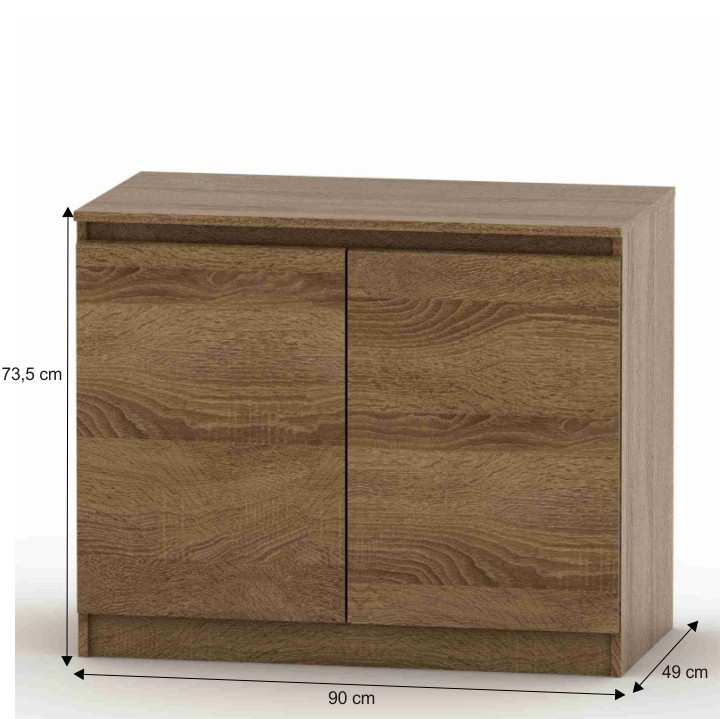 2 dverová komoda, bardolino tmavé, DTD laminovaná, s rozmermi, HANY 008