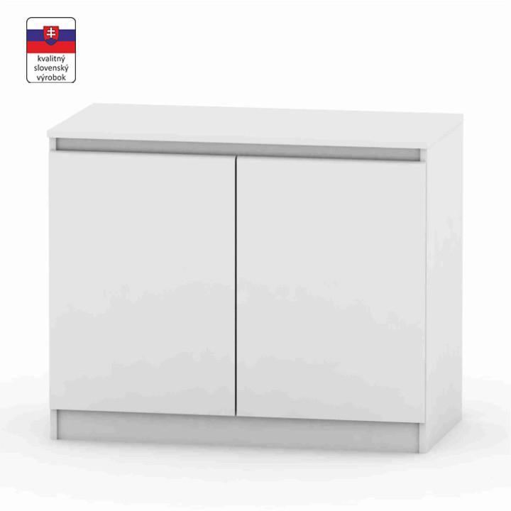 2 dverová komoda, biela, DTD laminovaná, na bielom pozadí, HANY 008
