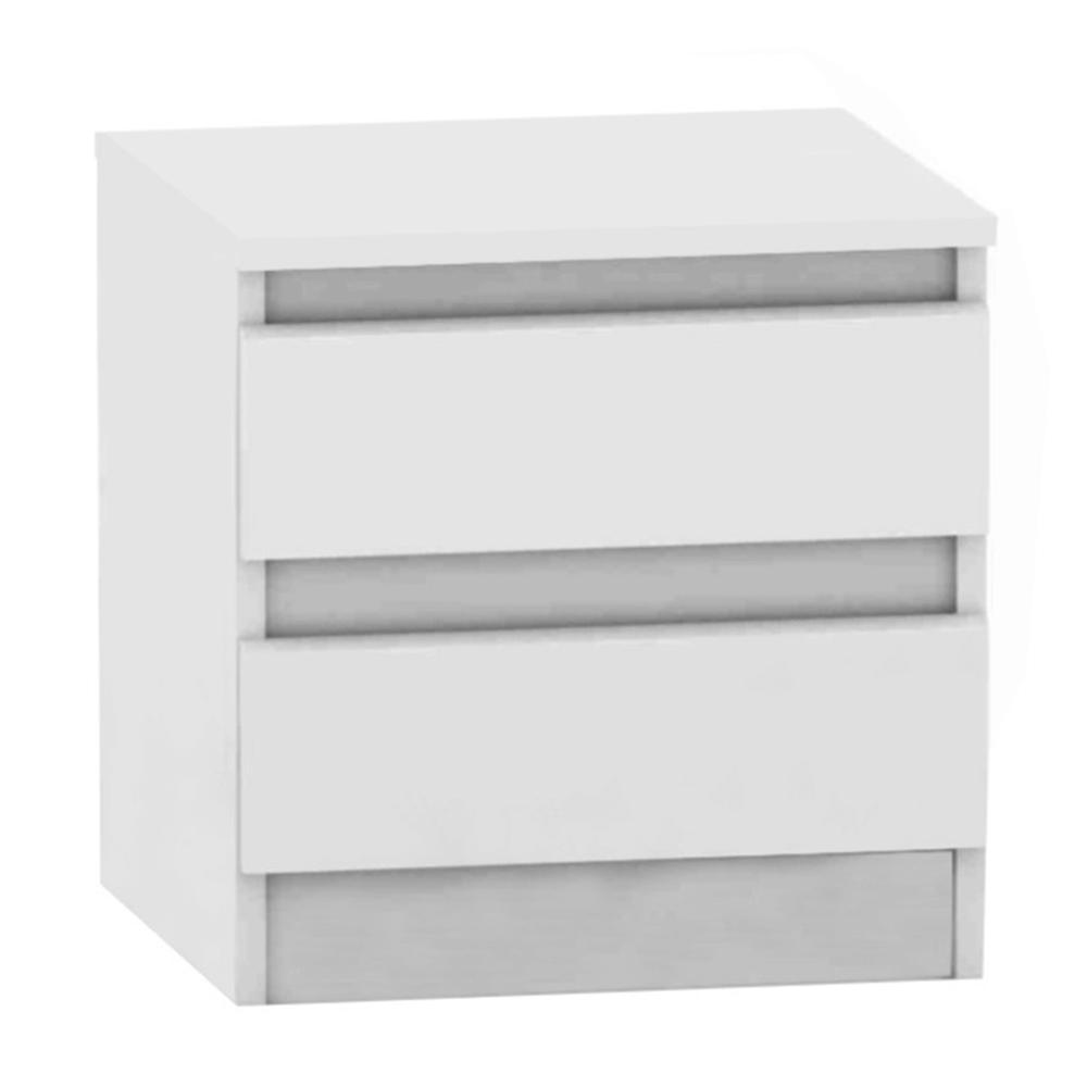 Noptieră cu 2 sertare, albă, HANY NEW 002