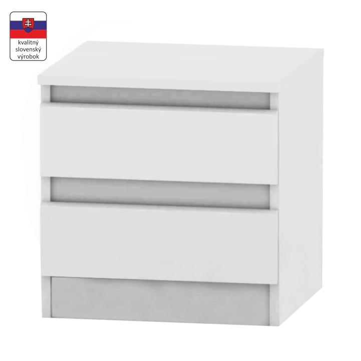 2 šuplíkový nočný stolík, biela, DTD laminovaná, na bielom pozadí, HANY 002