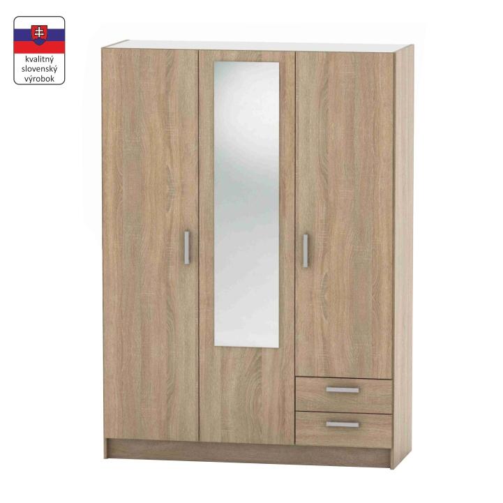 3-dverová skriňa, dub sonoma, DTD laminovaná,  BETTY 7 BE07-001-00 - fotka na bielom pozadí