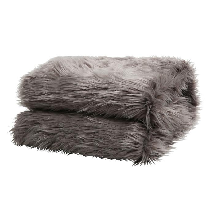 Pătură de blană, gri, 150x180, EBONA TIPUL 5