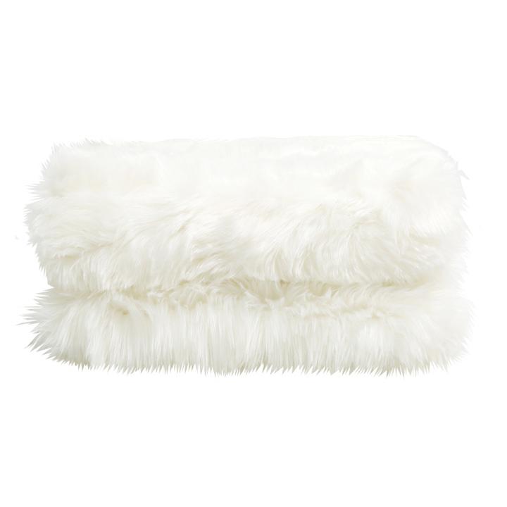 Pătură de blană, albă, 150x180, EBONA TIPUL 1
