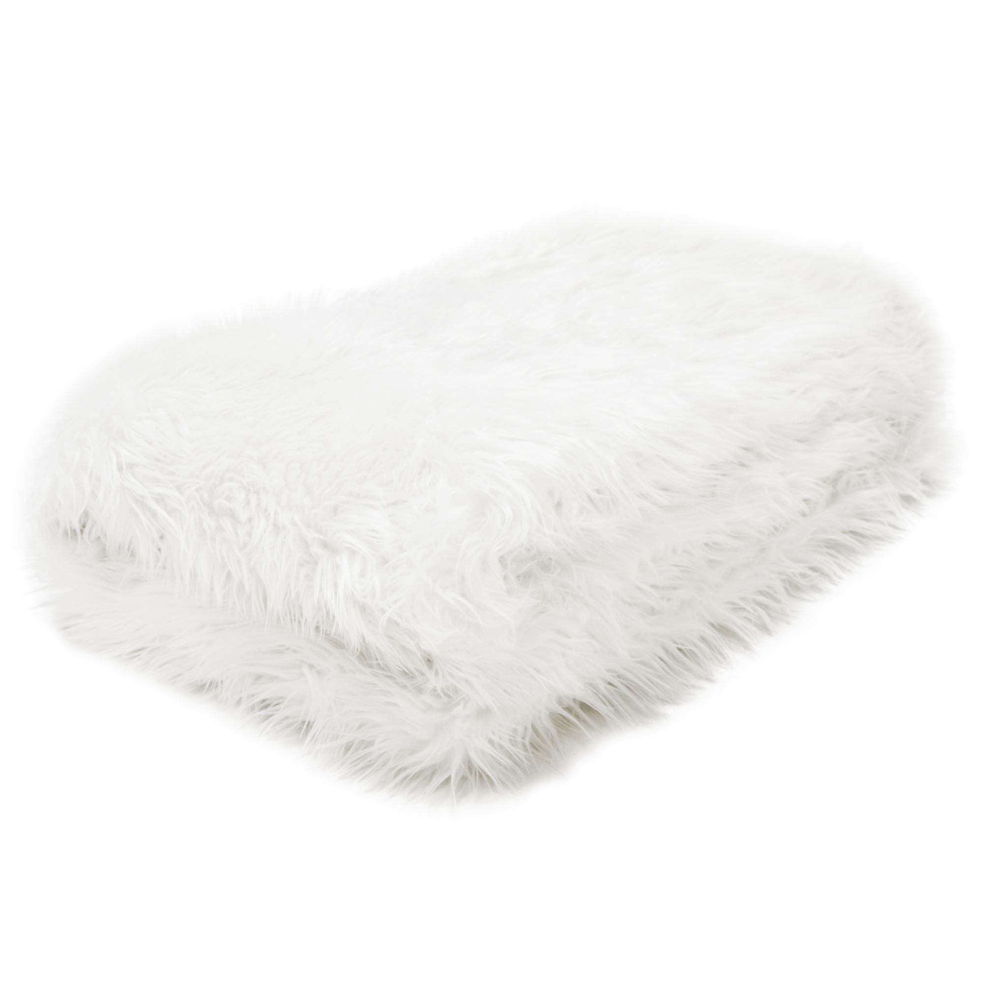 Szőrmés pléd, fehér, 150x180, EBONA TYP 1