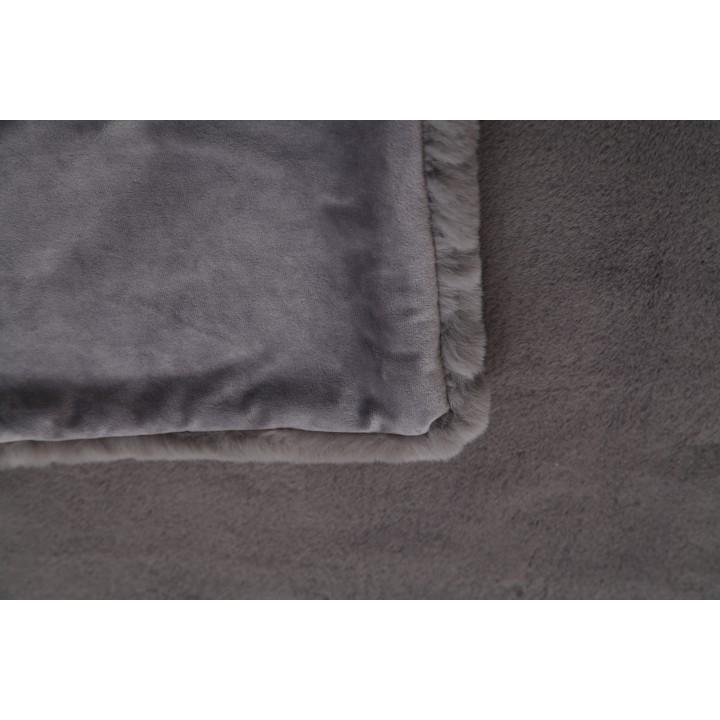 Kožušinová deka, sivá, 150x170, RABITA TYP 3, zadná strana