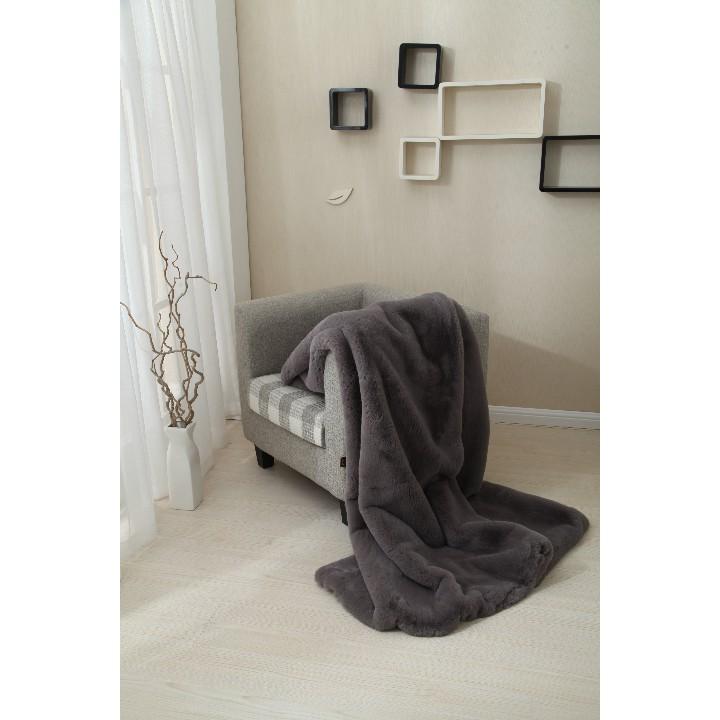 Kožušinová deka, sivá, 150x170, RABITA TYP 3, interiér