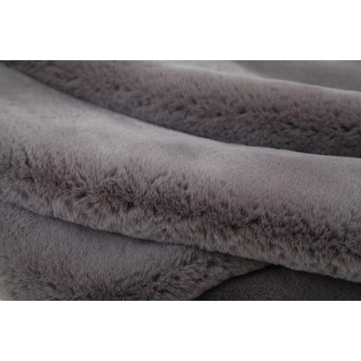 Kožušinová deka, sivá, 150x170, RABITA TYP 3, detail na materiál
