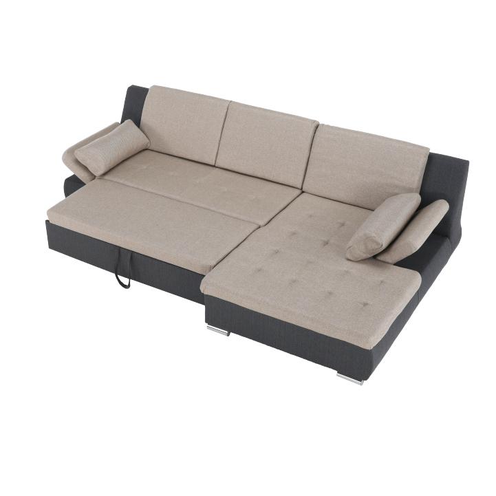 Celočalúnená, rohová, sedacia súprava , béžová/ hnedosivá látka, pravá, detail z hora na roloženú, LIMENA ROH P
