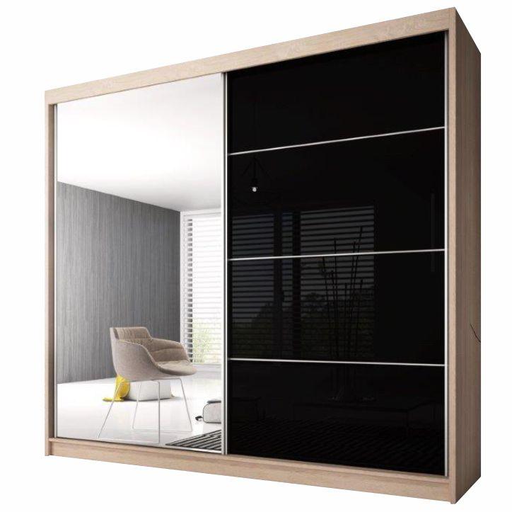 Skriňa s posúvacími dverami, dub sonoma/čierny lesk, 233x218, MULTI 31, na bielom pozadí
