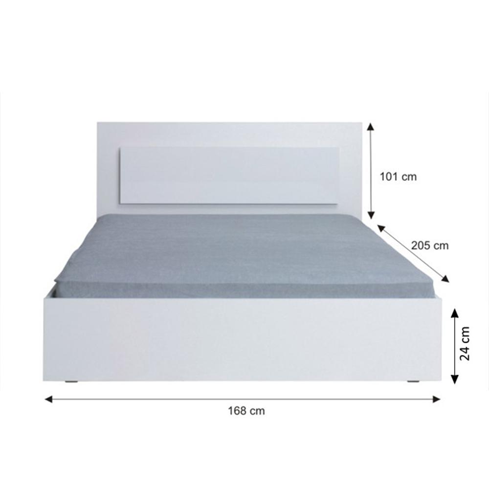 Dupla ágy, 160x200, fehér/ magasfényű fehér HG, ASIENA