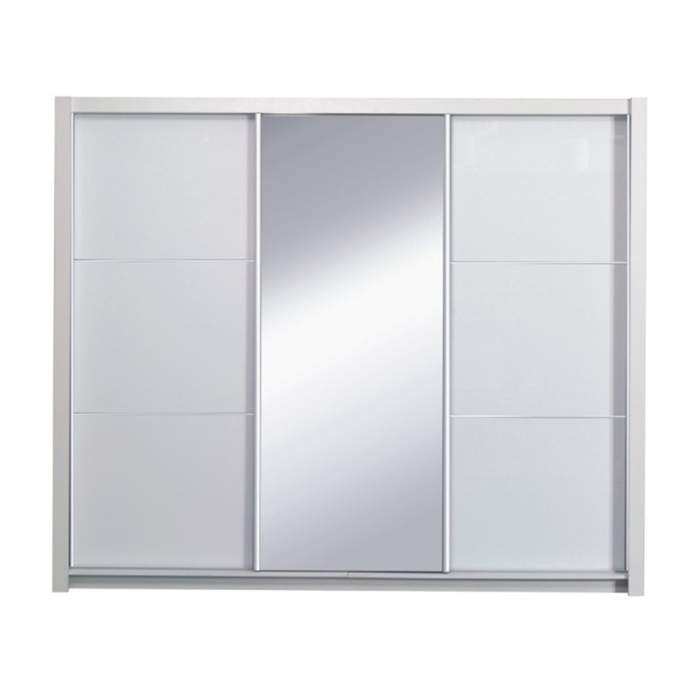 Szekrény tolóajtóval, fehér/magasfényű fehér, 208X213,  ASIENA