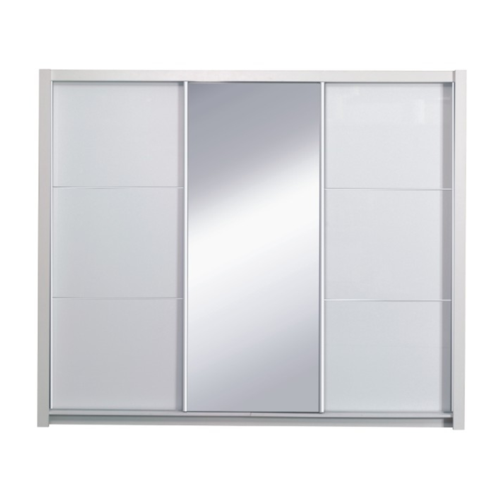 Szekrény tolóajtóval, fehér/ magasfényű fehér, 258X213,  ASIENA