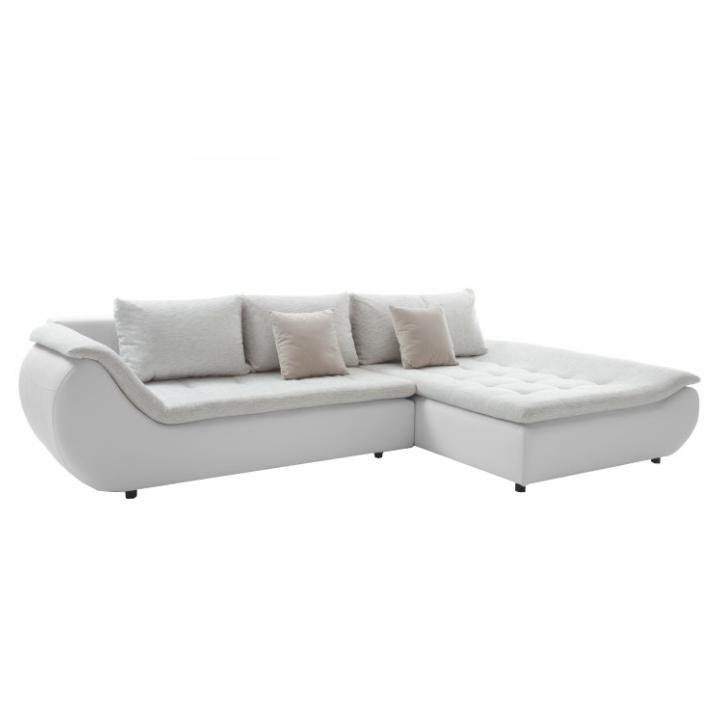 Set canapea, alb/gri deschis/roz pudră, ţesătură Soro stânga, BRATO