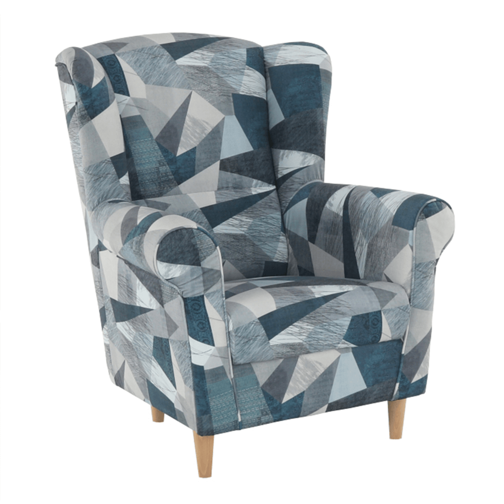 Fotoliu, material gri-albastru cu model, CHARLOT
