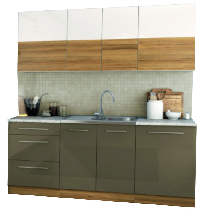 Kuchynská linka, biely lesk/svetly orech/cobalt sivy lesk, DTD laminovaná, SERGIO ZZ