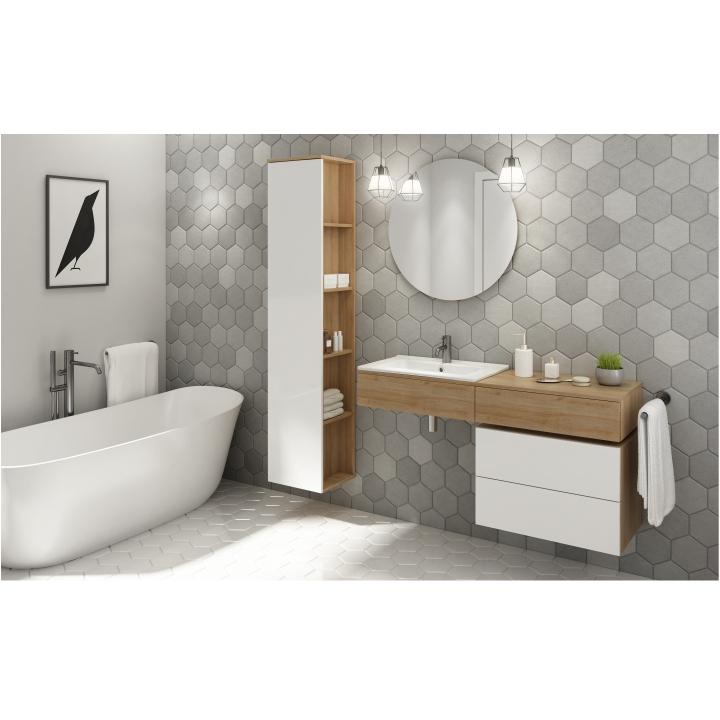 Umývadlová skrinka, pravá,  dub riviera/biely lesk, interiérová fotka, KIARA