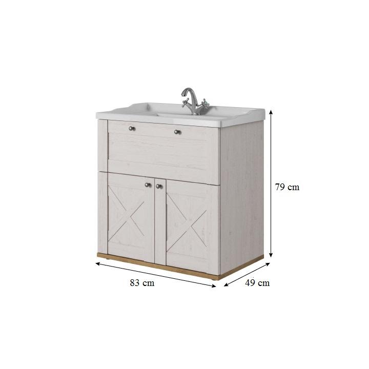 Skrinka pod umývadlo, sosna biela/dub riviera, s rozmermi, KEIT US80