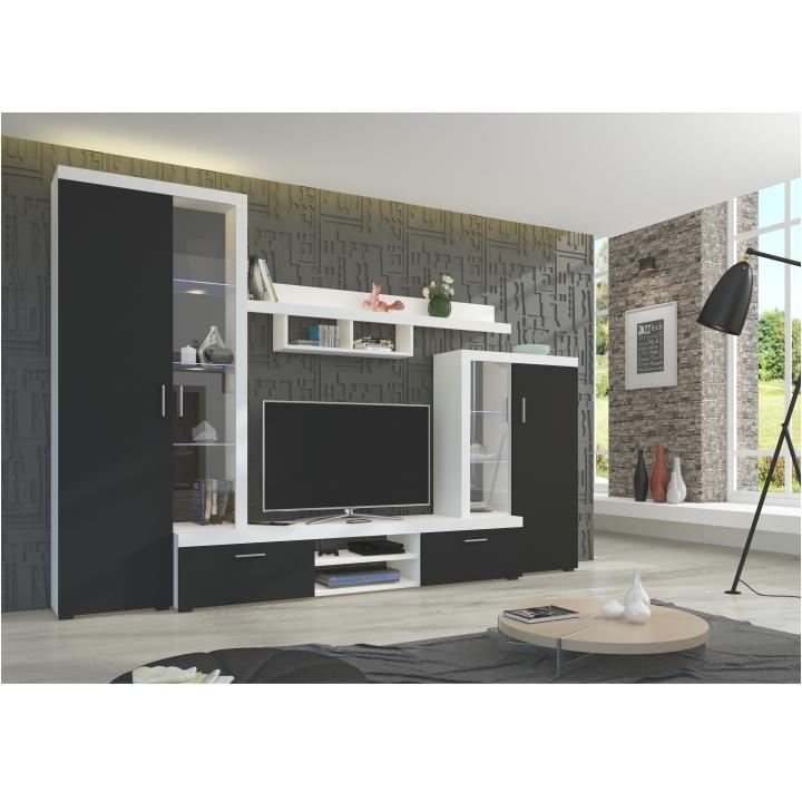 Obývacia stena, čierna/biela, DTD laminovaná, interiérová fotka, LIBERTY