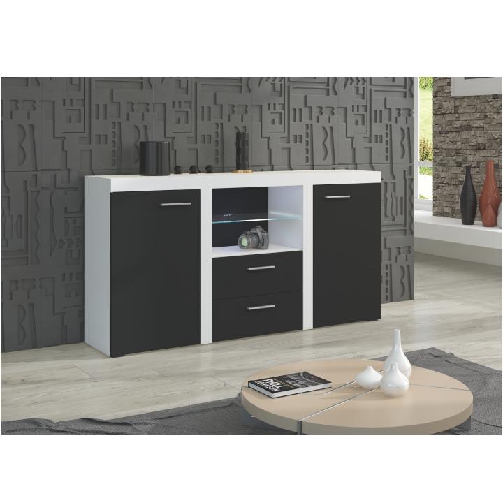 Kombinovaná komoda, čierna/biela, interiérová fotka, LIBERTY