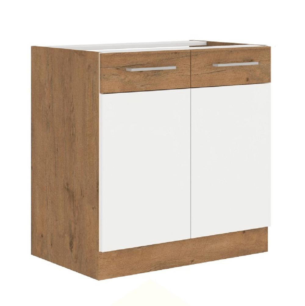 Cabinet inferior, alb extra lucios HG/stejar Lancelot, VEGA 80 D 2F BB