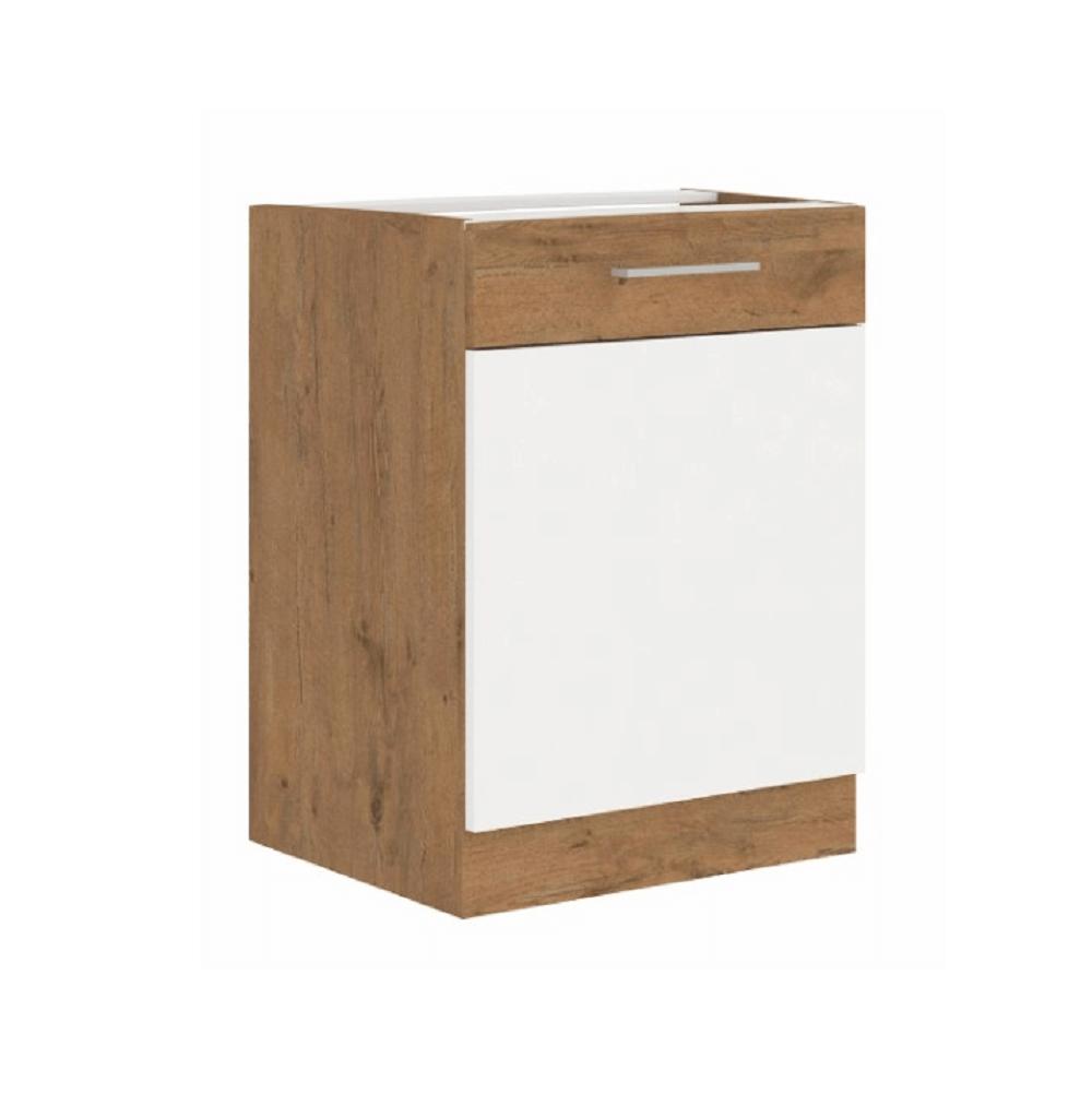 Cabinet inferior, alb extra lucios HG/stejar Lancelot, VEGA D60 1F BB