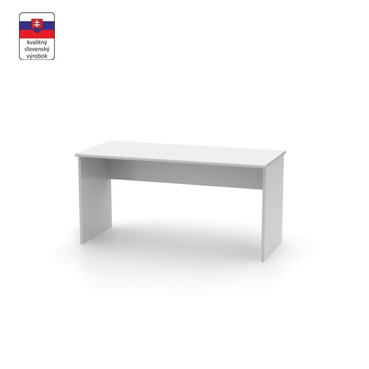 Kancelársky písací stôl z DTD laminovaná, biela, na bielom pozadí, JOHAN NEW 01