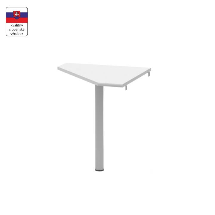 Rohový písací stolík z DTD laminovanej a kovu, biela, na bielom pozadí, JOHAN NEW 06