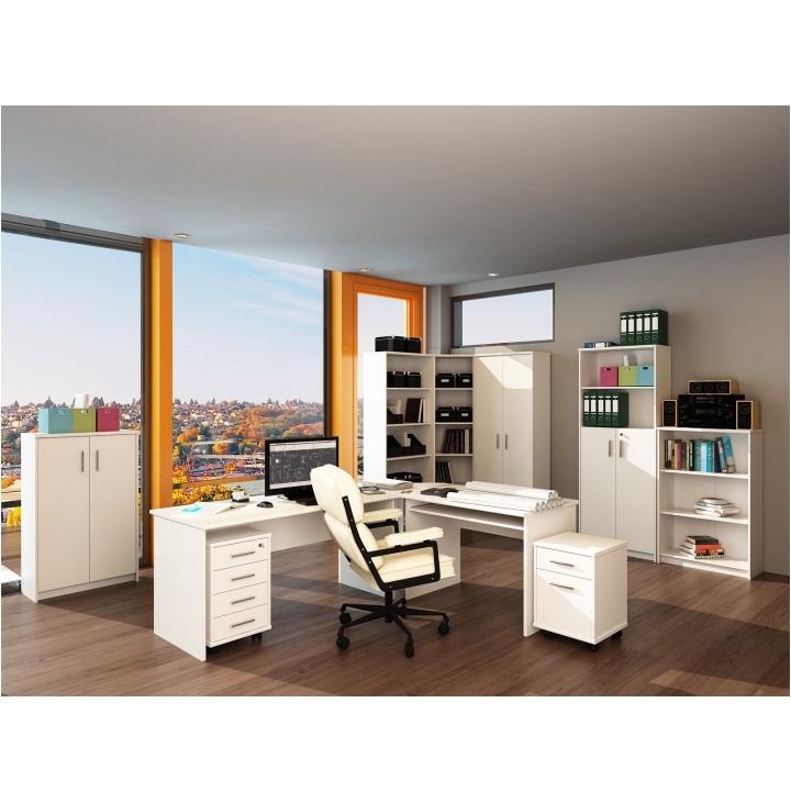 Kancelársky kontajner so zámok a štyrmi šuplíkmi z DTD laminovaná, biela, interiérová fotka, JOHAN NEW 12