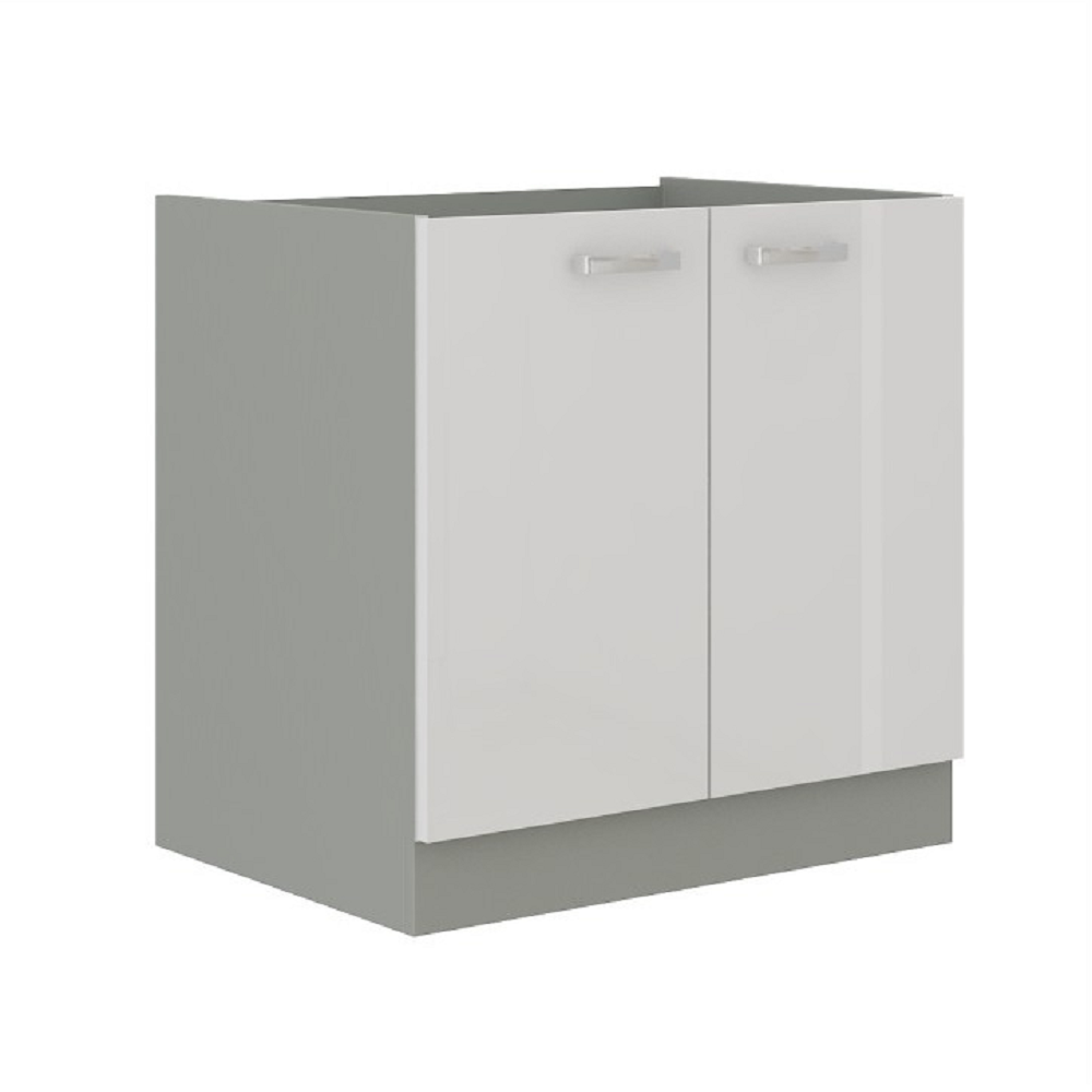 Cabinet inferior, alb extra lucios/gri, PRADO 80 D 2F BB