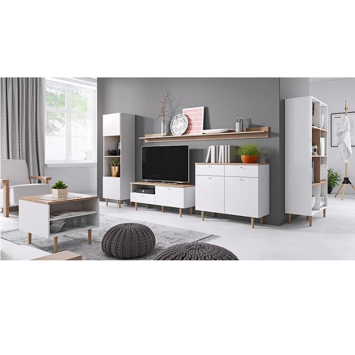 Komoda, biela/buk pieskový, interiérová fotka, LAVELI  LK100