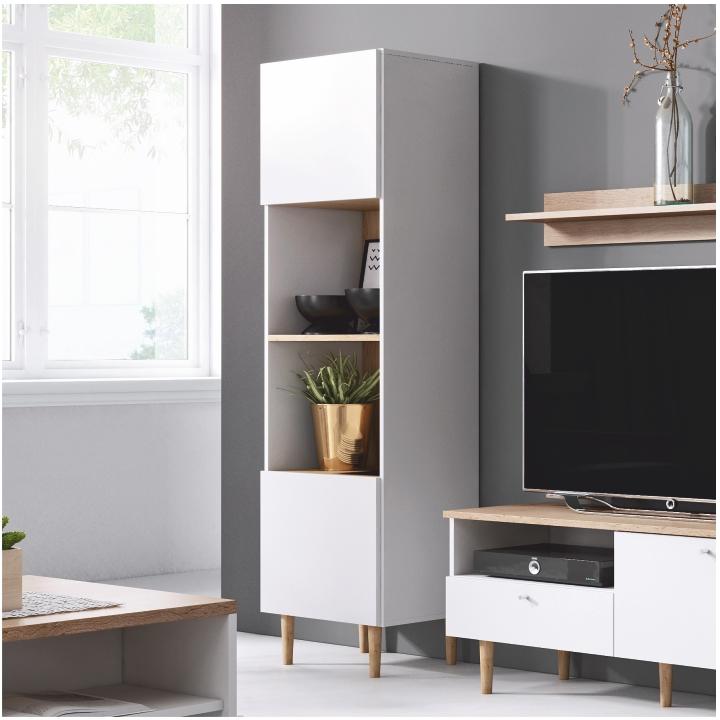 Regál, biela/sivá, regál v interiéri, LAVELI  LR50