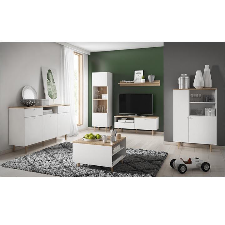 Regál, biela/sivá, ilustračná interiérová fotka, LAVELI  LR50