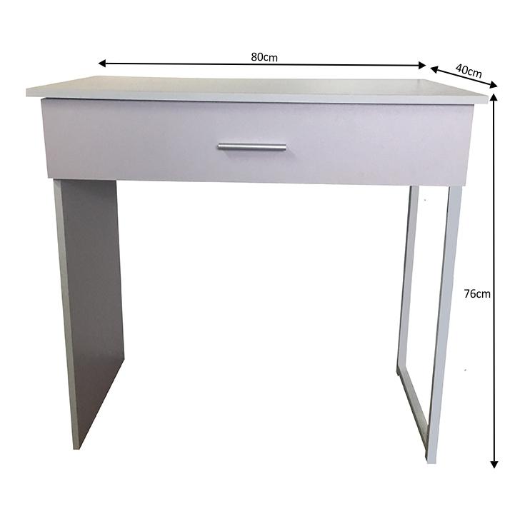 PC stôl, biela, s rozmermi, AVARD