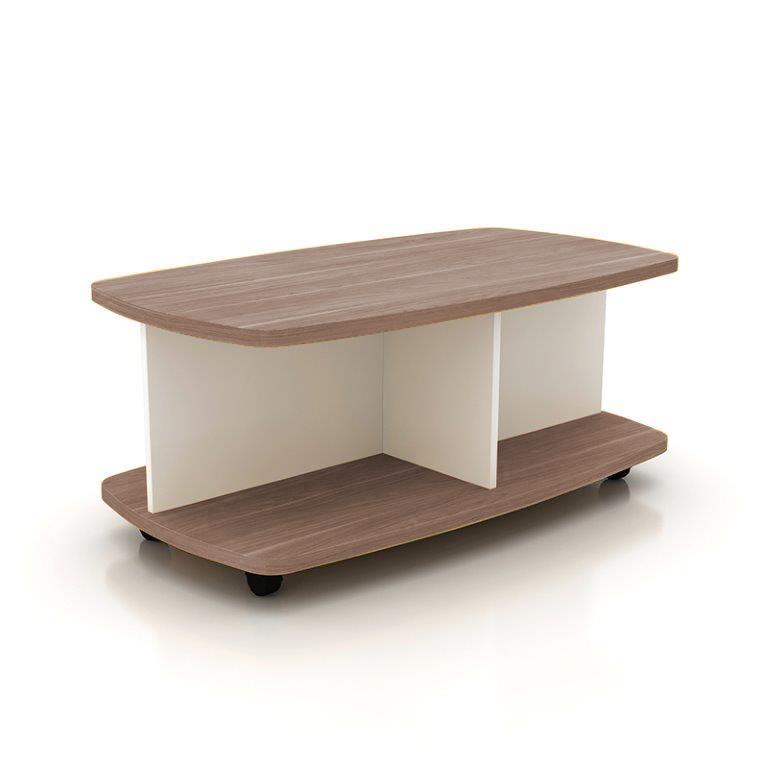 Konferenčný stolík, orech/biela, VELO