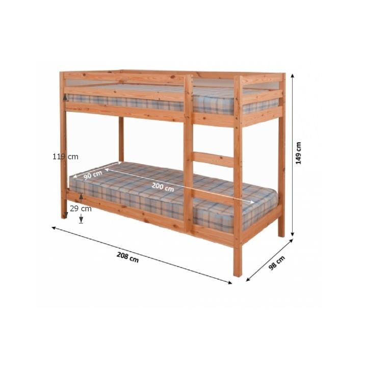 Poschodová posteľ, borovicové drevo svetlohnedá, VERSO - fotka s rozmermi