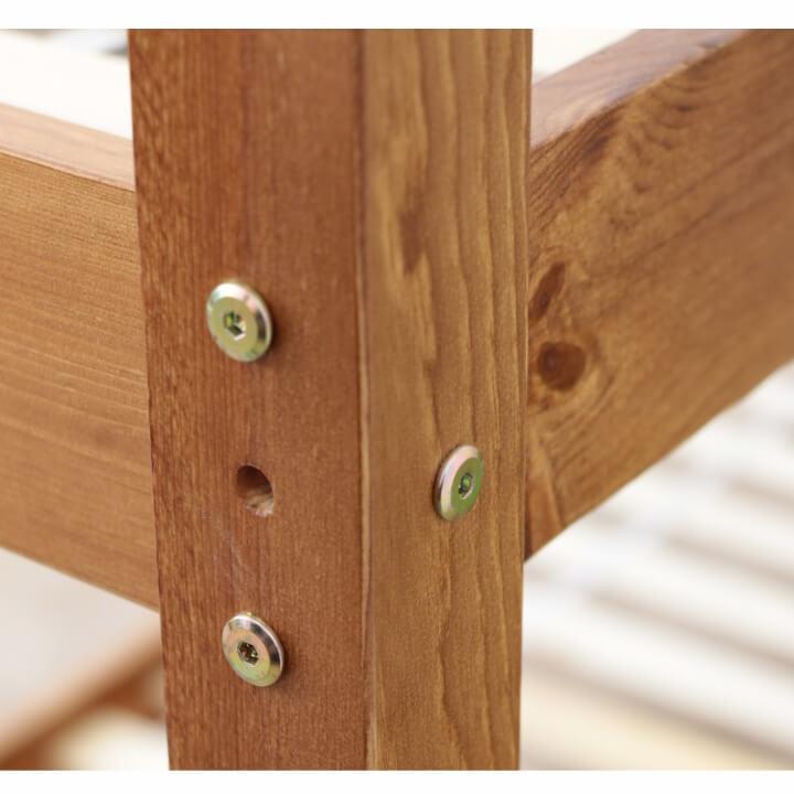 Poschodová posteľ, borovicové drevo svetlohnedá, VERSO - spoj postele