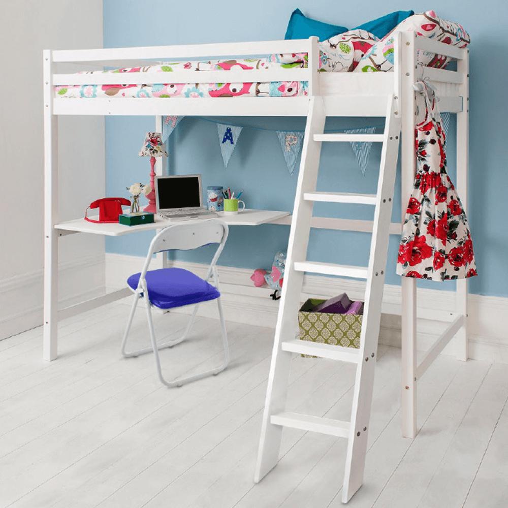 Fa emeletes ágy, fehér színű borókafenyő, AMARA